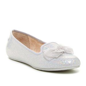 UGG Girls Ashley Silver Glitter Flats with Bow